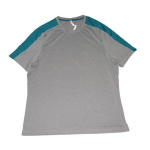 Fabletics T Shirt Gray Teal Blue Short Sleeve Top
